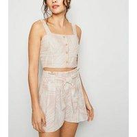 Pink Palm Linen Blend High Waist Shorts New Look