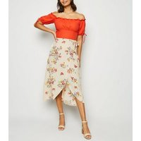 Off White Floral Jacquard Wrap Midi Skirt New Look