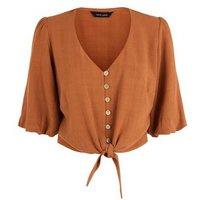 Rust Linen Look Tie Button Front Top New Look