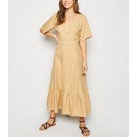 Yellow Tiered Hem Wrap Midi Dress New Look