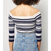 Blue-Vanilla-Blue-Stripe-Cross-Over-Bardot-Jumper-New-Look
