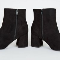 Wide Fit Black Suedette Flared Heel Ankle Boots New Look
