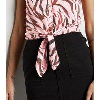 Pink Zebra Print Tie Front Cami New Look