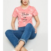 Coral Tie Dye This Is Me Slogan T-Shirt New Look