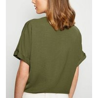 Khaki Button Up Tie Front T-Shirt New Look