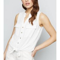 Off White Sleeveless Tie Front Shirt New Look
