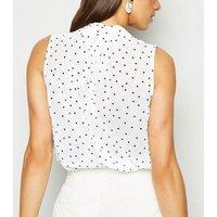White Spot Print Tie Neck Sleeveless Shirt New Look