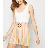 White Stripe Linen Blend Buckle Shorts New Look