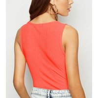 Bright Orange Ribbed Square Neck Bodysuit New Look
