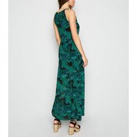 Blue Vanilla Green Leaf Print Maxi Dress New Look