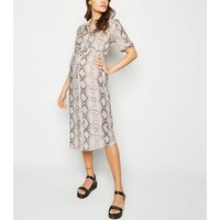 Maternity Pink Snake Print Midi Shirt Dress New Look