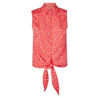 Brave Soul Red Heart Print Tie Front Shirt New Look