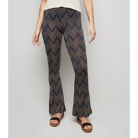 Brave Soul Blue Zig Zag Flared Trousers New Look