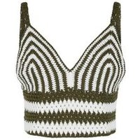 Pink Vanilla Khaki Stripe Crochet Bralette New Look