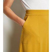 JDY Mustard Pocket Front Midi Skirt New Look