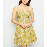 Cameo Rose Yellow Floral Bustier Dress New Look
