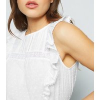 White Nep Frill Trim Top New Look