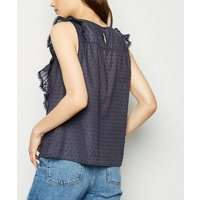 Navy Nep Frill Trim Top New Look
