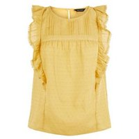 Yellow Nep Lace Frill Trim Top New Look