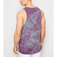 Dark Purple Tie Dye Vest New Look