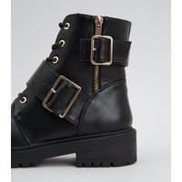 Black Leather-Look Lace Up Buckle Boots New Look