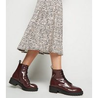 Dark Red Patent Lace Up Boots New Look Vegan