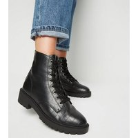 Black Faux Croc Lace Up Ankle Boots New Look Vegan