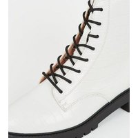 White Faux Croc Lace Up Ankle Boots New Look