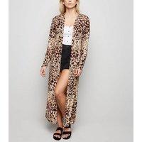 Carpe Diem Brown Animal Print Maxi Kimono New Look