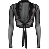 Carpe Diem Black Mesh Tie Crop Top New Look