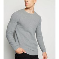 Pale Grey Waffle Knit Muscle Fit Jumper New Look