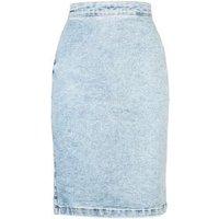Pale Blue Acid Wash Denim Pencil Skirt New Look