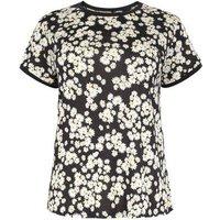Curves Black Daisy Ringer T-Shirt New Look