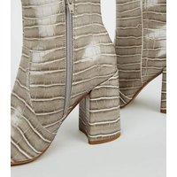 Wide Fit Grey Faux Croc Flared Heel Boots New Look Vegan