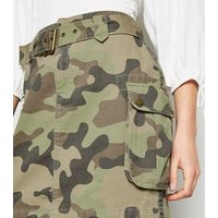 Green Camo Denim Utility Skirt New Look