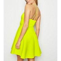 Green Neon Scuba Strappy Skater Dress New Look