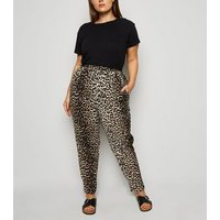 Curves Brown Animal Print Joggers New Look