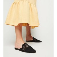 Black Suedette Woven Pointed Mules New Look