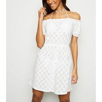 White Broderie Bardot Beach Dress New Look