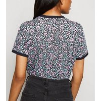 Petite Black Ditsy Floral Ringer T-Shirt New Look