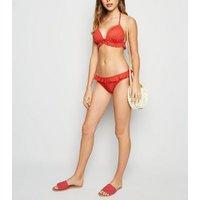 Red Spot Print Frill Trim Bikini Bottoms New Look