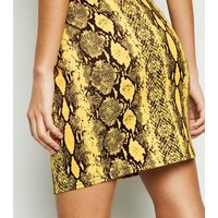 Cameo Rose Yellow Snake Print Mini Skirt New Look