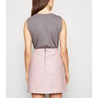 Pale Pink Coated Leather-Look Mini Skirt New Look