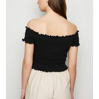 Black Shirred Frill Trim Bardot Top New Look