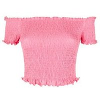 Bright Pink Shirred Frill Trim Bardot Top New Look