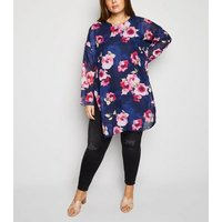 Mela Curves Blue Floral Tunic Top New Look