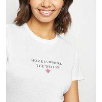 White WiFi Slogan T-Shirt New Look