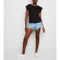 Black Broderie Sleeve T-Shirt New Look