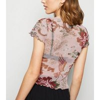 Pink Floral Mesh T-Shirt New Look