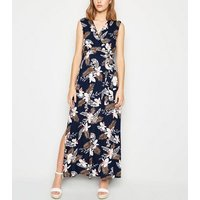 Mela Navy Floral Wrap Maxi Dress New Look